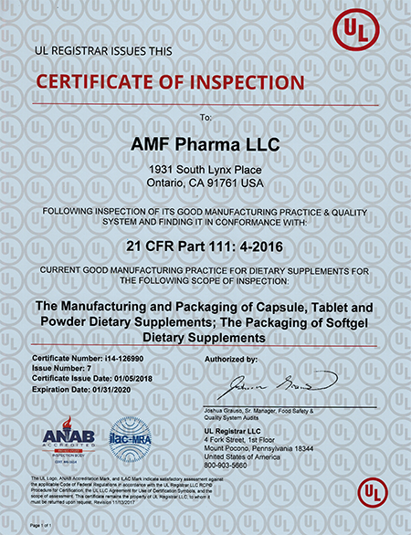A Dietary Supplements Manufacturer | cGMP OEM - AMF Pharma